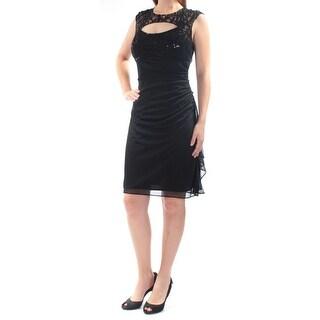 BETSY & ADAM $109 Womens 1287 Black Cut Out Sleeveless Jewel Neck Dress 10 B+B