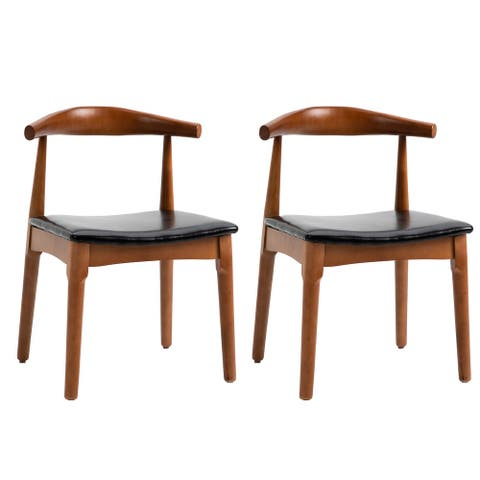 HOMCOM 2 Piece Mid Century Modern Dining Side Chair Upholstered Faux Leather Seat, Walnut