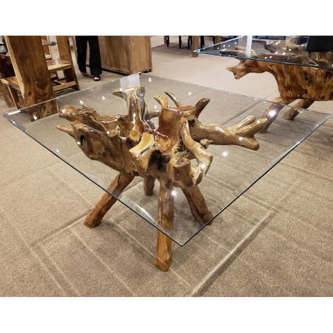 "Chic Teak Rustic Teak Wood Root Dining Table Including a 55"" x 43"" Glass Top"