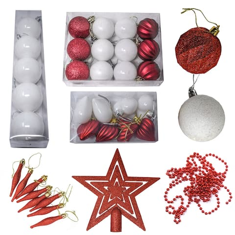 ALEKO Shatterproof Complete Holiday Ornament Variety Pack - Set of 50 - Set of 50