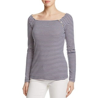 Three Dots Womens Casual Top Striped Boat Neck