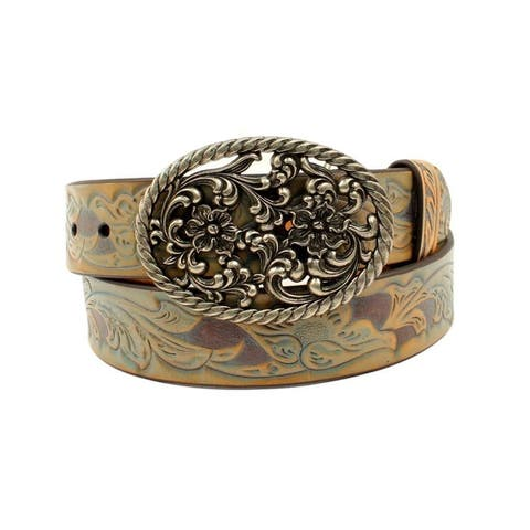 Ariat Western Belt Womens Leather Scrolling Floral Embossed