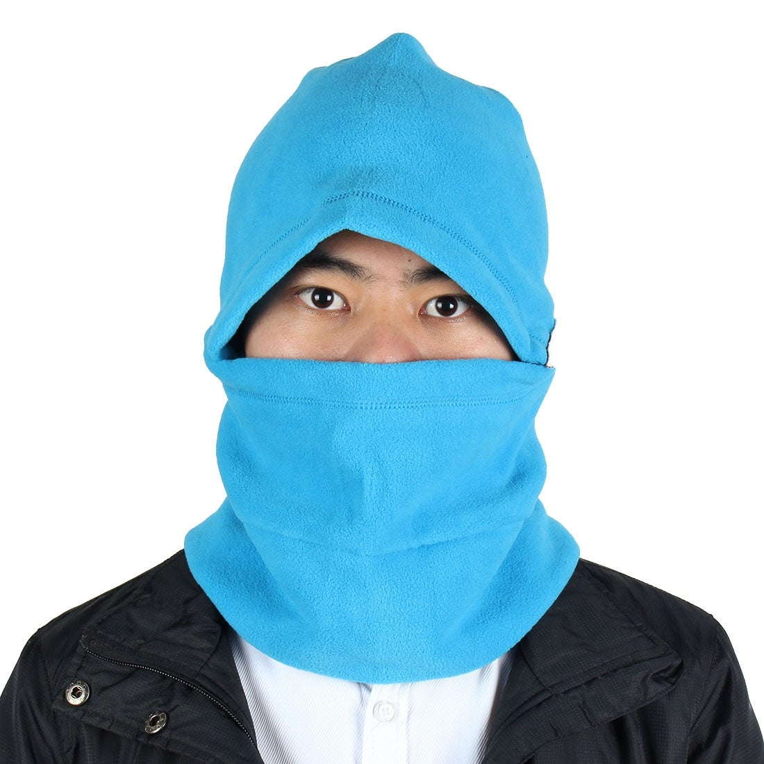 Outdoor Thermal Fleece Detachable Balaclava Hood Face Neck Mask Helmet Cap Blue