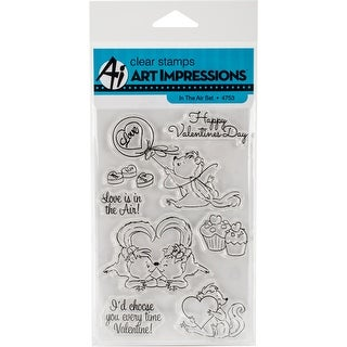 "Art Impressions Valentine's Cling Rubber Stamp Set 7""X4""-In The Air"