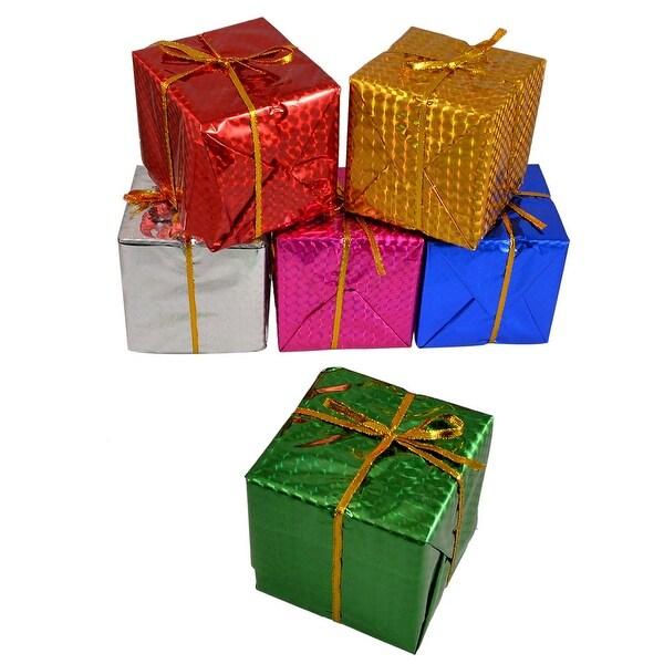 Unique Bargains Unique Bargains Colorful 8x8x8cm Cubic Gift Box Hanger Decoration for Xmas Christmas Tree