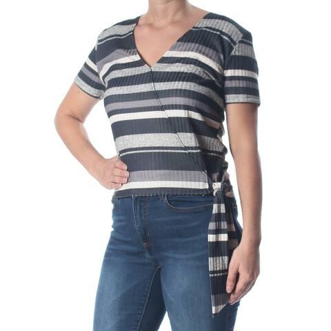 SELF ESTEEM Womens Gray Striped Short Sleeve V Neck Top Juniors Size: XL