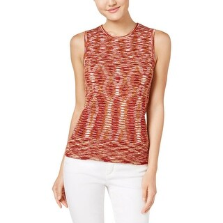 Anne Klein Womens Tank Top Ribbed Knit Marled