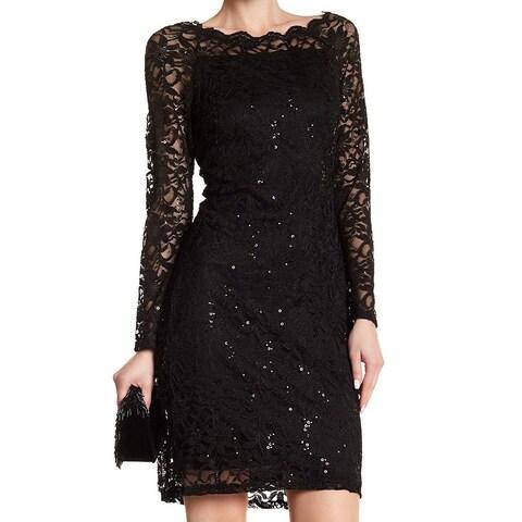 Marina Women's Sequin Lace Overlay Sheath Dress