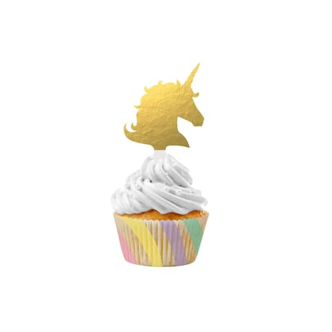 Club Pack of 72 Gold and White Unicorn Sparkle Cupcake Kit 2.75""