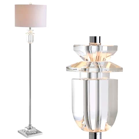 """Aria 63"""" Crystal/Metal LED Floor Lamp, Clear/Chrome by JONATHAN Y - 63"""" H x 15"""" W x 15"""" D"""