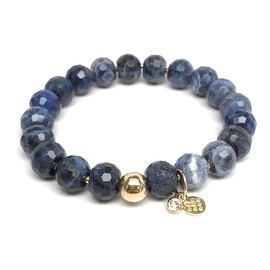 Blue Sodalite 'London' Stretch Bracelet, 14k over Sterling Silver
