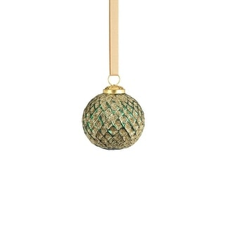 """Link to 3"""" Beehive Green with Gold Glitter Ball Ornaments, Set of 6 Similar Items in Christmas Decorations"""