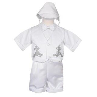 Rafael Collection Baby Boys 4 pc Cross Grapevine Vest Hat Baptism Outfit 3M