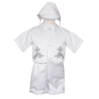 Rafael Collection Baby Boys 4 pc Cross Grapevine Vest Hat Baptism Outfit 6M