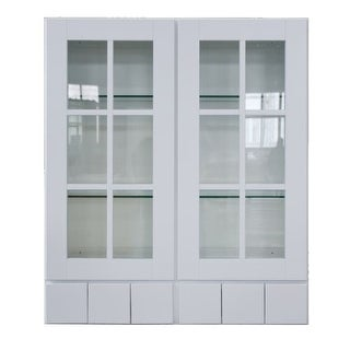 """Sunny Wood SHW3642GD6-A Shaker Hill 36"""" x 42"""" Wall Cabinet with Glass Doors and 6 Drawers"""