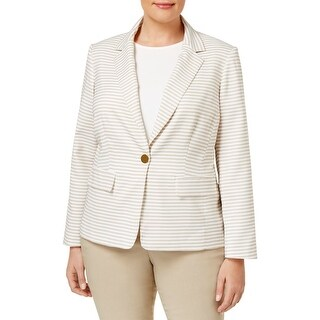 Calvin Klein Womens Plus One-Button Blazer Striped Long Sleeve - 18W