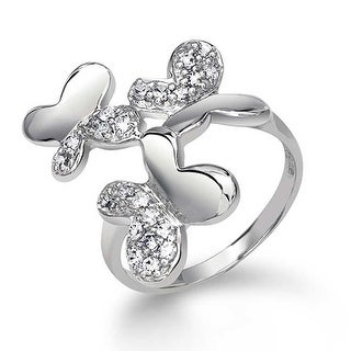 Bling Jewelry Sterling Silver Pave CZ Enchanted Three Butterfly Ring