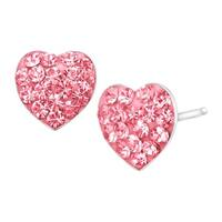 Crystaluxe Heart Button Stud Earrings with Rose Swarovski elements Crystals in Sterling SIlver
