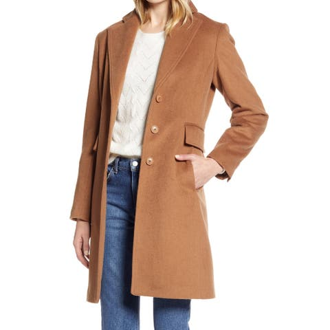 Halogen Womens Coats Beige Size 16 Notched-Lapel Single-Breasted