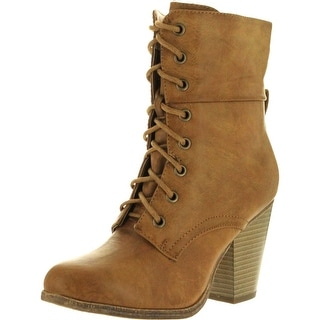 Refresh Womens Laura-01 Sierra-01 Comfy Round Toe Lace Up Mid-Calf Chunky Heel Bootie