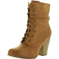 Refresh Womens Sierra-1 Comfy Round Toe Lace Up Mid-Calf Chunky Heel Bootie