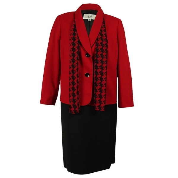 Shop Le Suit Women S Two Button Blazer Skirt Suit Set With Scarf