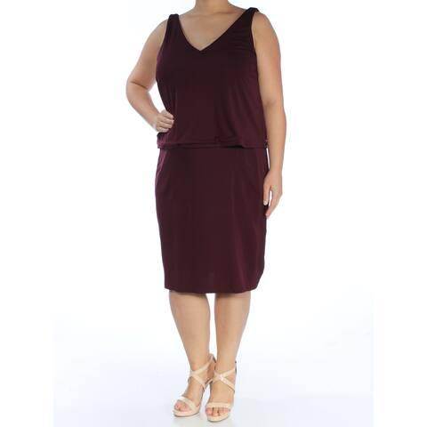 RALPH LAUREN Maroon Sleeveless Below The Knee Dress XL