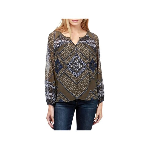 Lucky Brand Womens Peasant Top Printed Sheer
