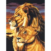"Paint By Number Kit Artist Canvas Series 9""X12""-Lion & Lioness"