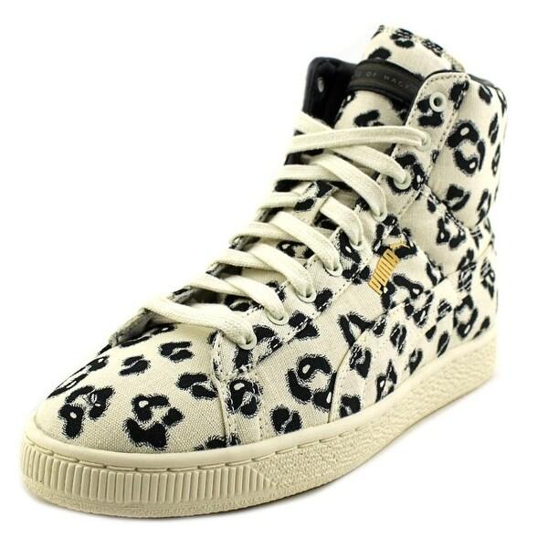 Puma Basket Mid x HOH LEONINE Women  Round Toe Canvas White Sneakers