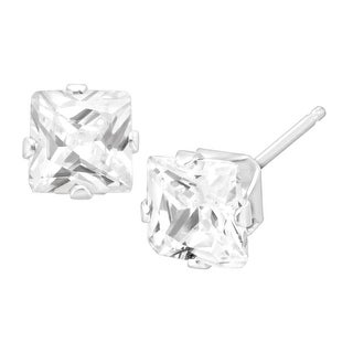 5x5 mm Cushion-Cut Cubic Zirconia Stud Earrings in 14K White Gold