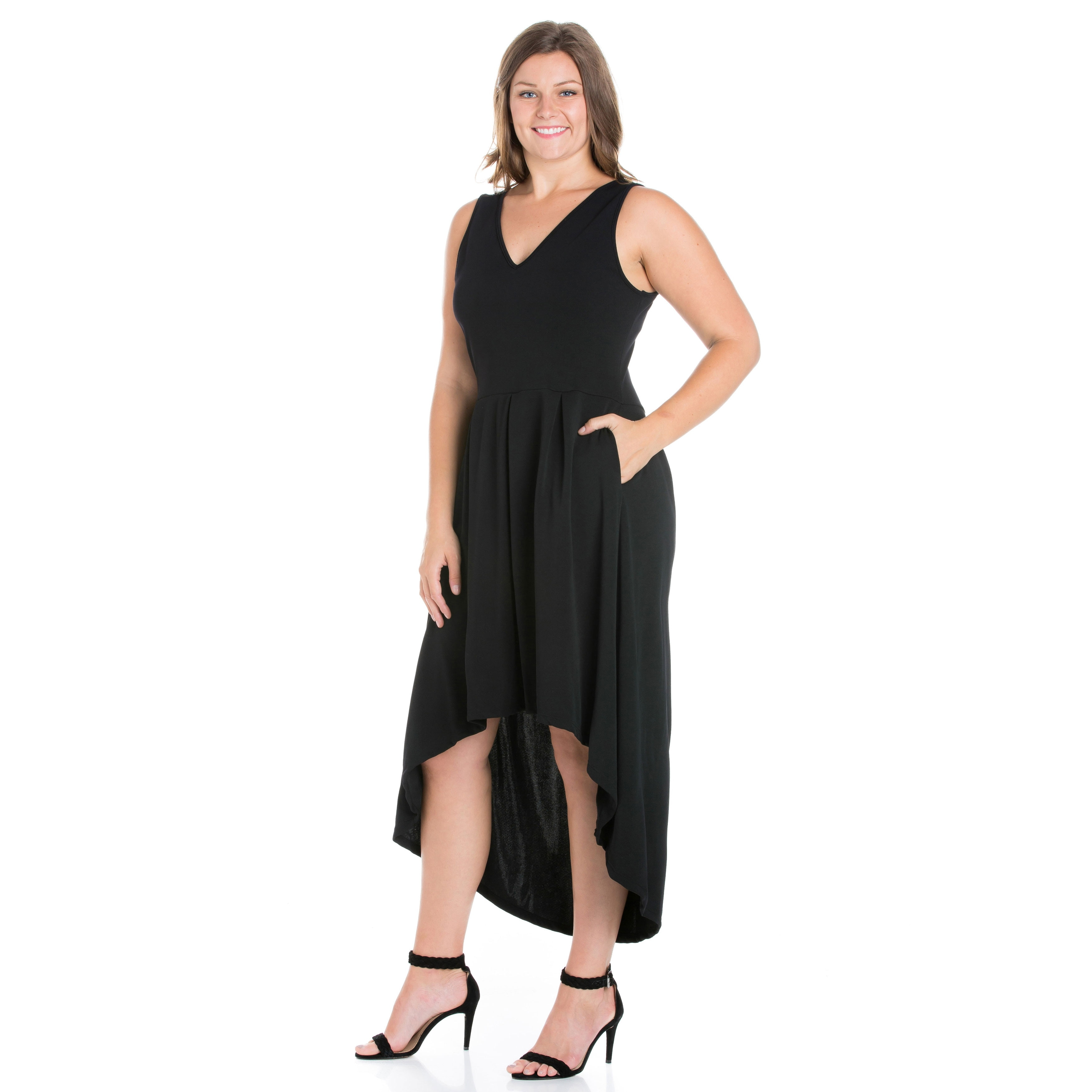 24seven Comfort Apparel Modern Classic High Low Plus Size Little Black  Dress with Pocket