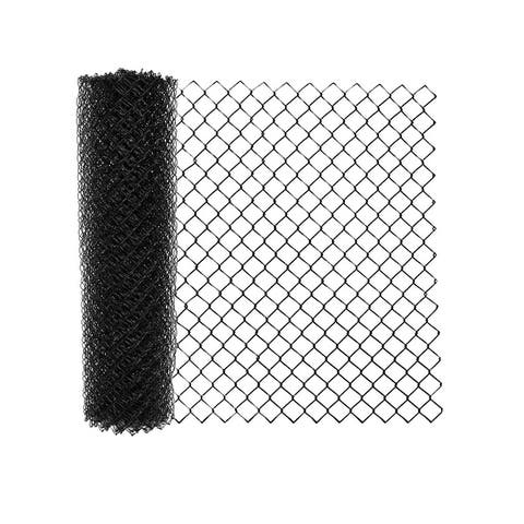 ALEKO 6X50 Feet PVC Coated Galvanized Steel Chain Link Fence Black Fabric