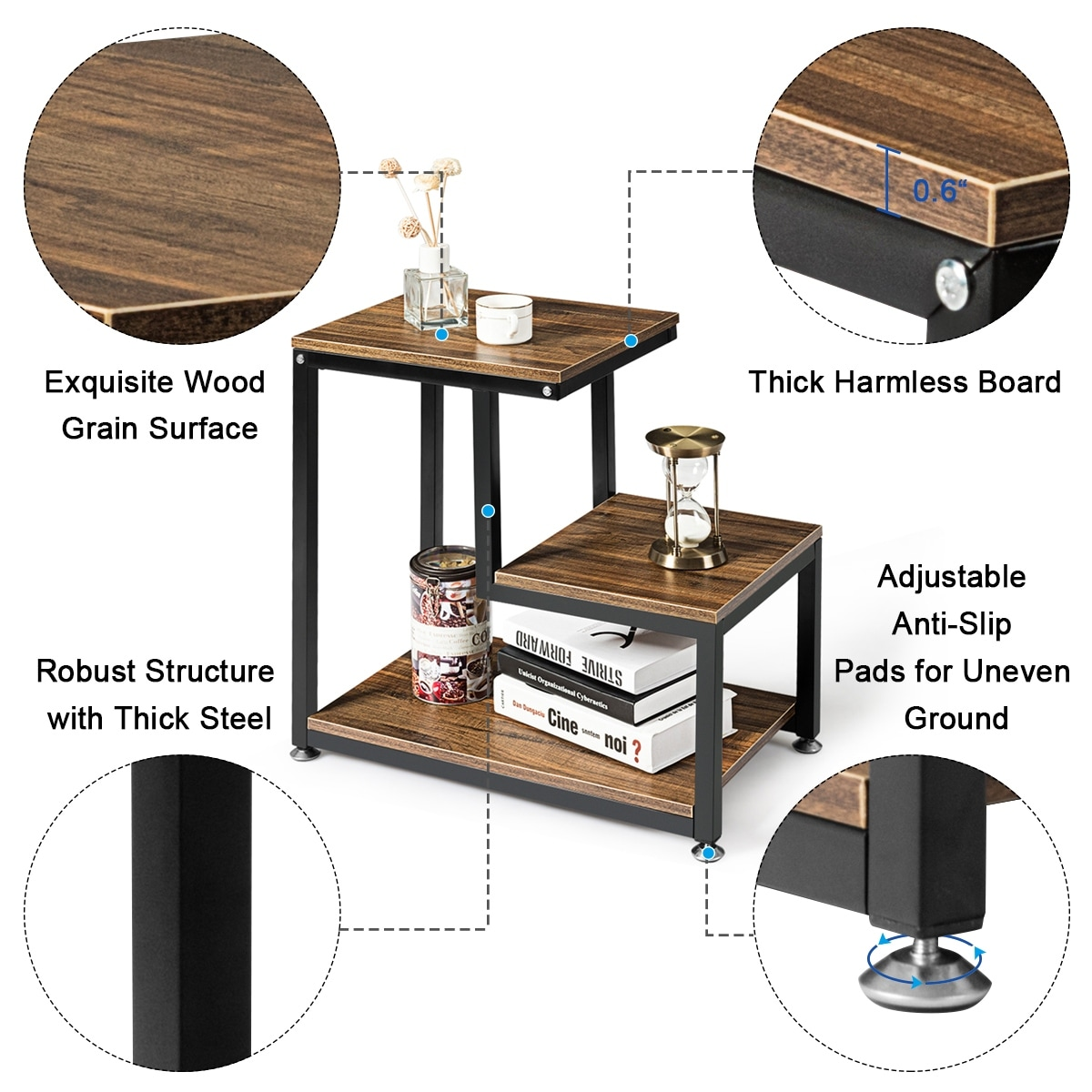 Industrial End Table Vintage Metal Frame Side Table Living Room Bedroom Open Storage Shelf Nightstand Coffee Table Wood Grain Color Mimbarschool Com Ng