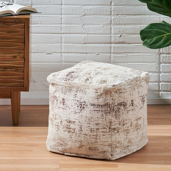 Colane Hand-Loomed Boho Fabric Cube Pouf by Christopher Knight Home. Opens flyout.