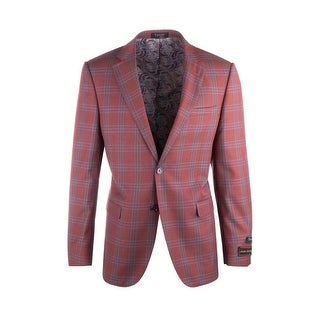 Sangria Rust with Light Blue Windowpane Pure Wool Jacket by Tiglio Luxe