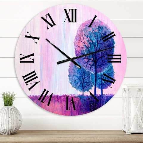 Designart 'Colorful Happy Trees During Sunsrise V' Farmhouse wall clock