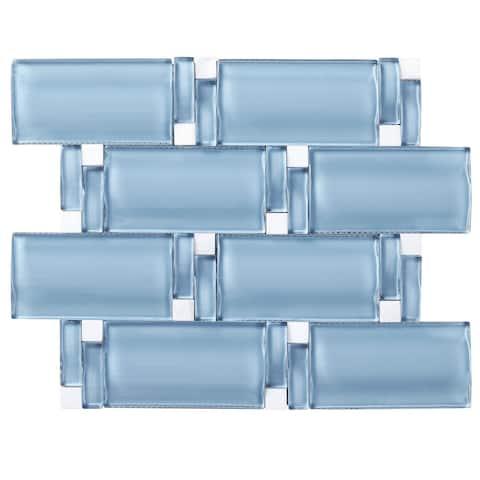 "TileGen. 3D Arched 2.5"" x 4.5"" Glass Mosaic Tile in Blue Wall Tile (10 sheets/8sqft.)"