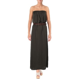 City Triangles Womens Juniors Maxi Dress Pleated Strapless