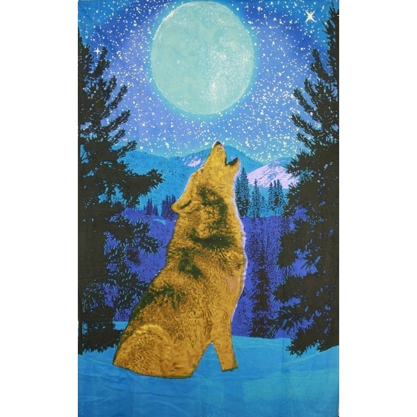 Handmade Cotton Glow in the Dark Full Moon Wolf Tapestry Tablecloth Spread 60x90