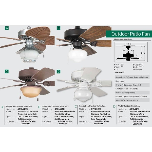 Outdoor Tropic Isle Ceiling Fan Blades for 54 Fans
