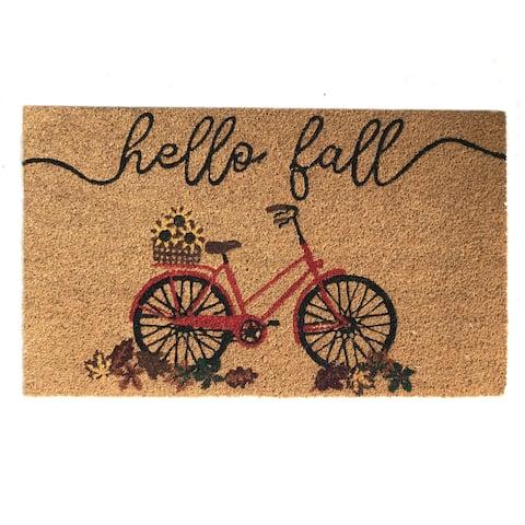 Farmhouse Living Hello Fall Bike Coir Doormat