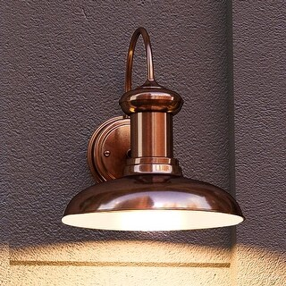 "Luxury Industrial Chic Outdoor Wall Light, 12.25""H x 12""W, with Nautical Style Elements, Solid Copper Finish by Urban Ambiance"