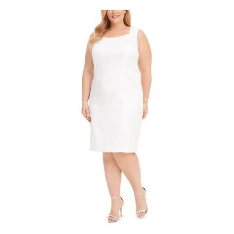 KASPER White Sleeveless Knee Length Sheath Dress Size 16W