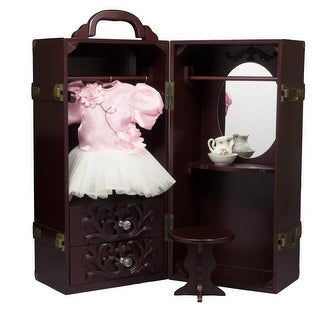 "18"" Doll & Clothes Storage Case Furniture for American Girl Wooden Doll Trunk With Vanity, Stool, Hangers"