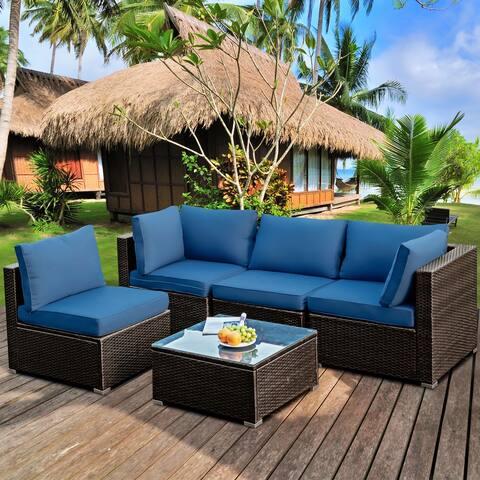 Gymax 5PCS Rattan Patio Conversation Set Sofa Furniture Set w/ Navy - See Details