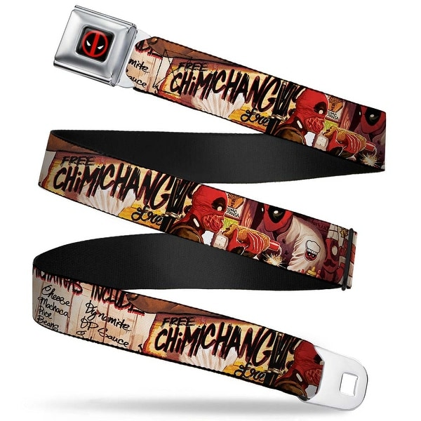 Marvel Universe Deadpool Logo Full Color Black Red White Deadpool Kills Seatbelt Belt