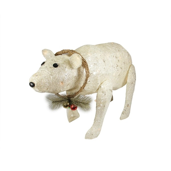 "31"" Lighted Sparkling Sisal Baby Polar Bear Christmas Outdoor Decoration - WHITE"