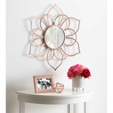 "Kate and Laurel Brienne Metal Flower Round Mirror - 24"" Diameter"