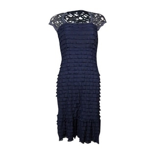 Signature Women's Crochet Cap Sleeve Ruffled Sheath Dress - s